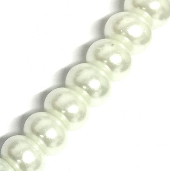 Whte 01 rondelle glass pearl beads